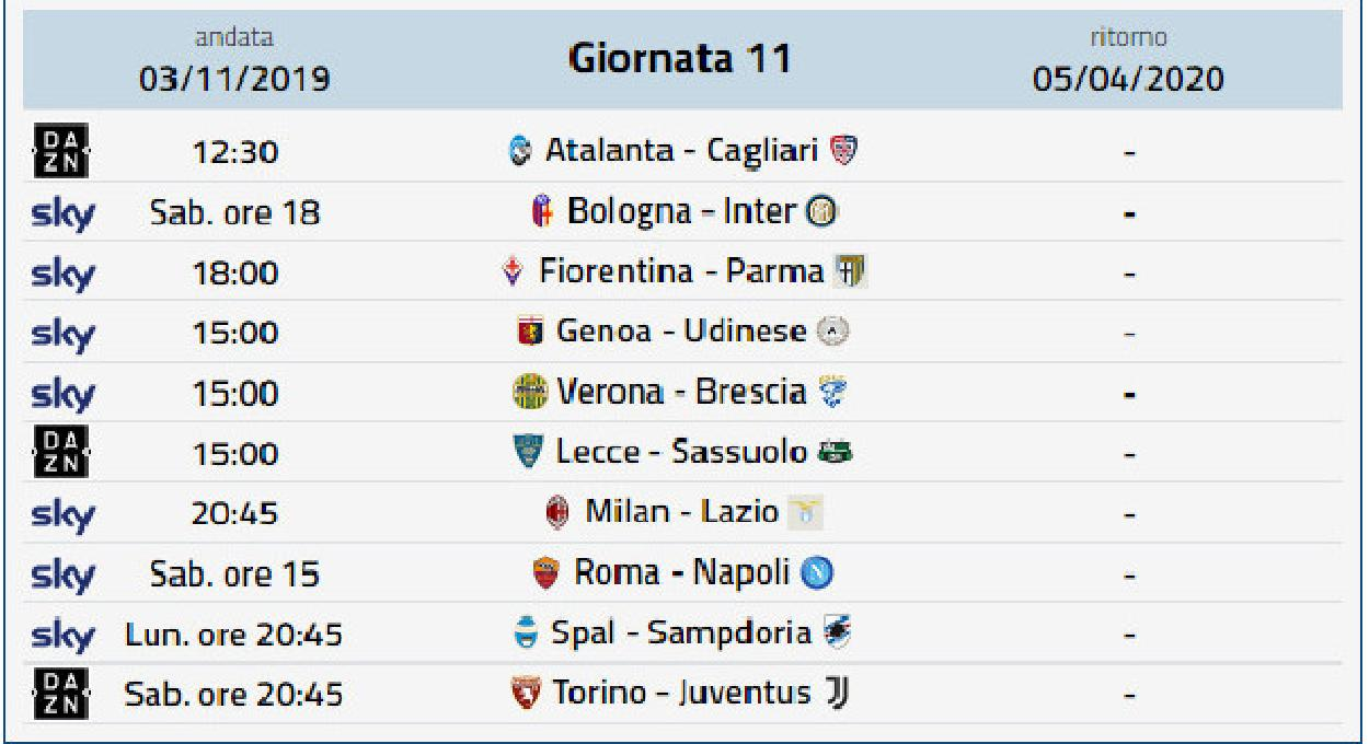 Foto Calendario Serie A Prossimo Turno Serie A 11 Gi Prossimo Turno Serie A Shotoe